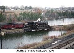 Steam train crossing east bridge in Waterford
